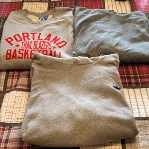 3 adidas sweatshirts, 2 hoodies, 1 crew